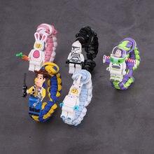 Figuras de acción de Marvel de Disney, juguetes de Toy Story, Buzz Lightyear, pulsera de dibujos animados, Woody, pulsera de Spiderman, Chico, regalos