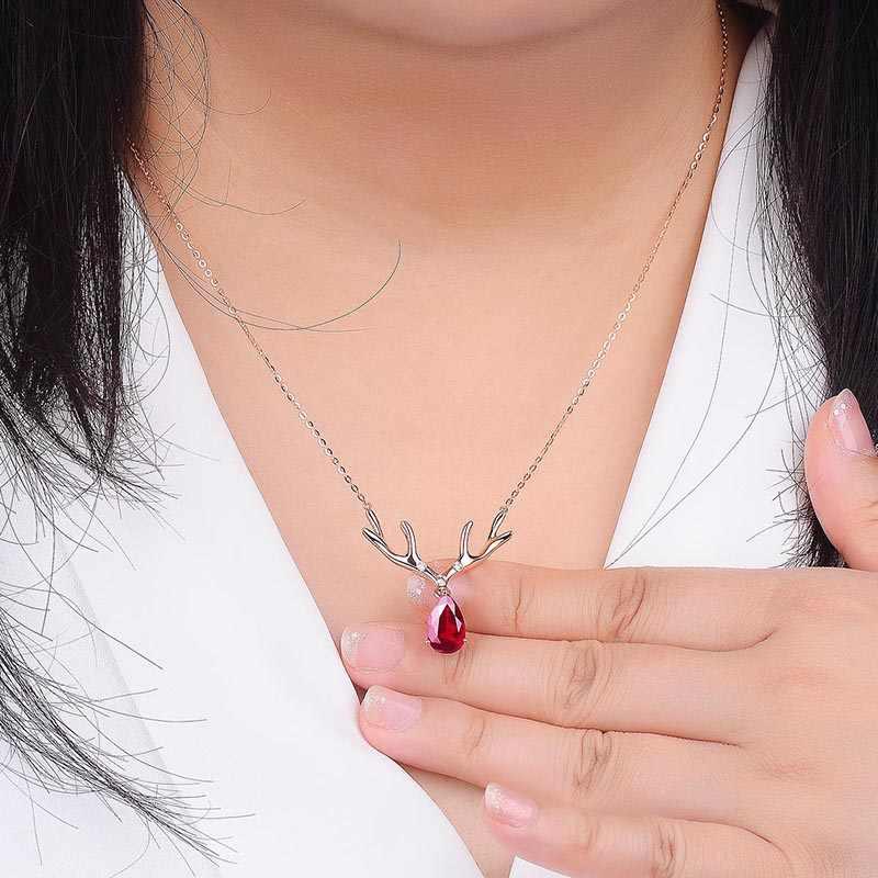 Bague Ringen ювелирные изделия 925 серебряные ожерелья для женщин милый кулон с оленем розовое золото цвет рубиновый драгоценный камень рождественские женские подарки Вечерние