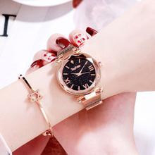 Luxury Rose Gold Women Watches Fashion Galaxy Starry Sky Dial Magnet Watch Ladies Stainless Steel Quartz Clock Reloj Mujer цены