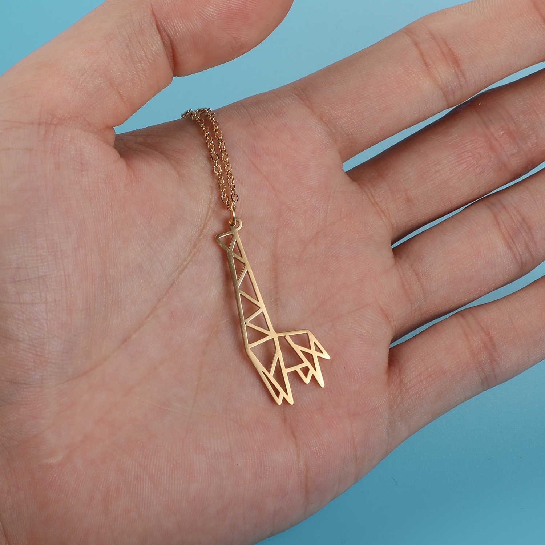 100% prawdziwe ze stali nierdzewnej Hollow zwierząt żyrafa naszyjnik moda zwierząt wisiorek naszyjniki osobowość biżuteria