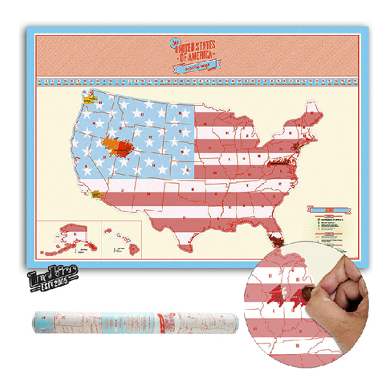 Big Size Scratch Map <font><b>USA</b></font> Scratch Off World Travel Map For Travelers Gifts Personalized Map Wall Stickers Poster Home Decoration image