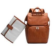 Nuevo bolso grande de cuero de PU para pañales Mochila para mujer, organizador de cochecito, bolsas de viaje para bebé, bolsas para mamá, Mochila femenina