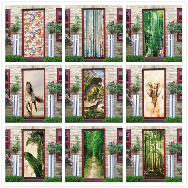 Animals Green Plants Wallpaper On The Door PVC Self-adhesive Door Sticker Home Renovation Decor Wall Poster Living Room Mural