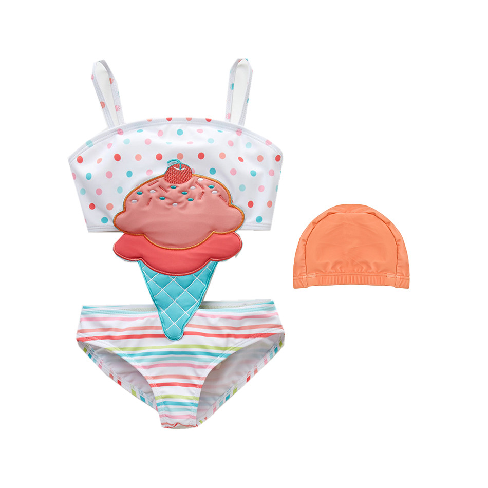Toddler Baby Girl One Piece Swimwear With Hats Swimsuit Toddler Kids Baby Girl Swimwear Swimsuit Bathing Suit Swimming Clothes