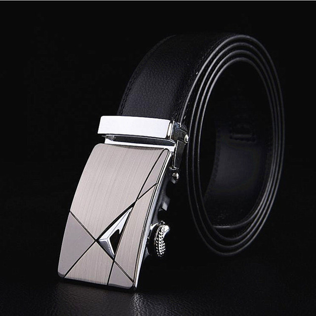 Famous Brand New Male Designer Automatic Buckle Cowhide Leather belt 110cm-150cm Luxury for men 5