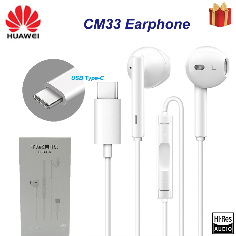 Original HUAWEI CM33 Kopfhörer USB Typ-C In Ohr Hearphone Headset Mic Volumen HUAWEI Mate 10 Pro 20 X RS P20 30 Honor 7 8 V8