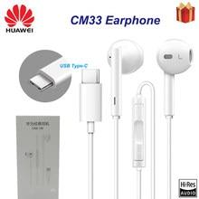 Original huawei cm33 fone de ouvido usb tipo-c no ouvido fone de ouvido fone de ouvido microfone volume huawei companheiro 10 pro 20 x rs p20 30 honra 7 8 v8