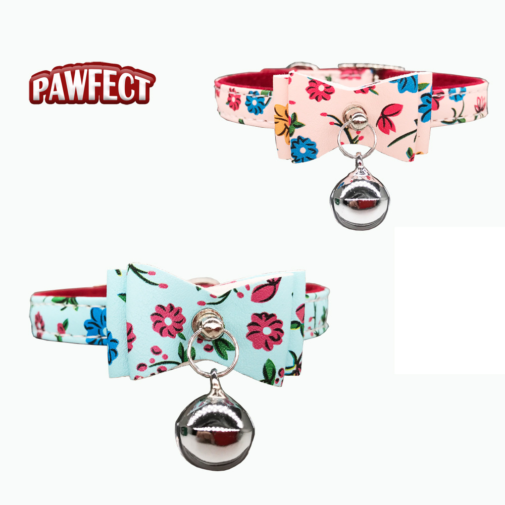 Pet Collar Bow With Bell Neck Ring Flower Pattern Flocked Pu Material Neck Ring Cute Small Dog Cat Neck Ring
