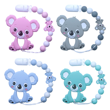 BOBO.BOX Koala Silicone Beads Baby Teether Bracelet Food Grade Chews Nurse Gift Toys Teething Necklace pacifier personalized name baby teether silicone pacifier clips holder infant teething toys baby shower gift food grade silicone