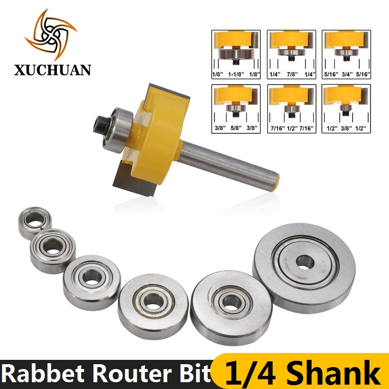 7pcs 1/4''(6.35mm) Rabbet Router Bit With 6 Bearings Set Tenon Cutter Carbide End Mill Woodworking Milling Cutter