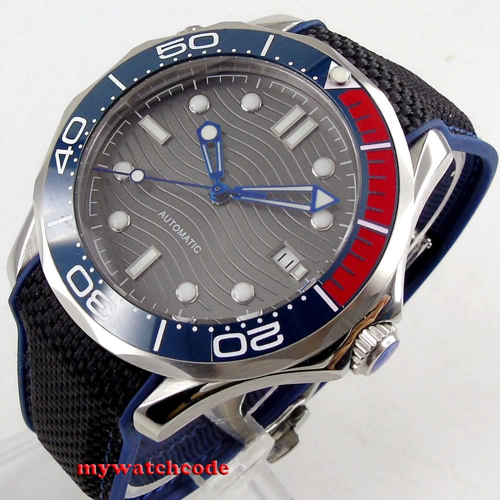 41mm bliger sterile grey wave dial sapphire glass blue red ceramic bezel automatic mens watch B248|Mechanical Watches| |  - title=