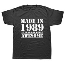 T-shirt manches courtes homme, humoristique, fabriqué en 1989, 32 ans d'autonomie, en coton, avec imprimé blague, pour mari, décontracté