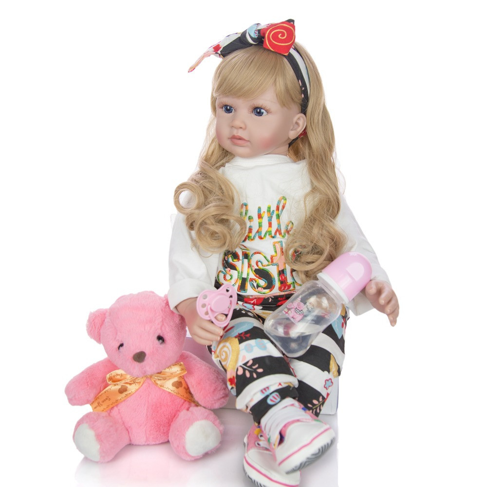 Big 24inch bebes Reborn Toddler Girl Dolls lifelike Princess blond wig silicone vinyl Reborn baby Doll lol For Kids gift toys
