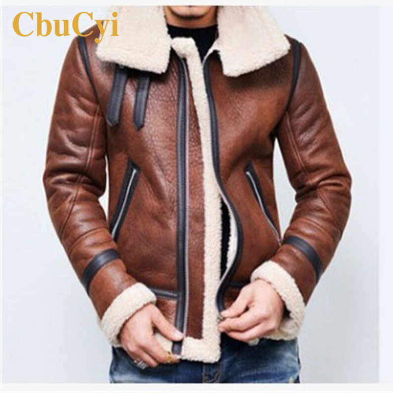 Winter Leather Jacket Mens Motorcycle Long-sleeve Vintage Faux PU Leather Coat Men Black Thicken Warm Coats Turn-down Collar 4XL
