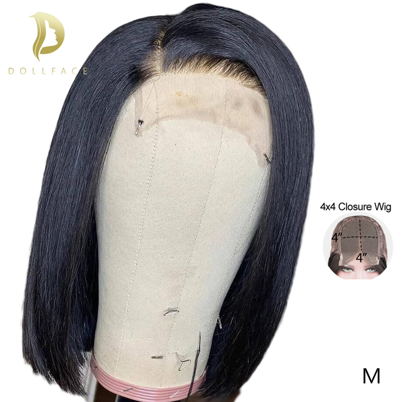 4x4 Closure Wig Straight Swiss Lace Human Hair Wigs For Black Women Brazilian Glueless Short Afro Bob Pre Plucked Remy Hair