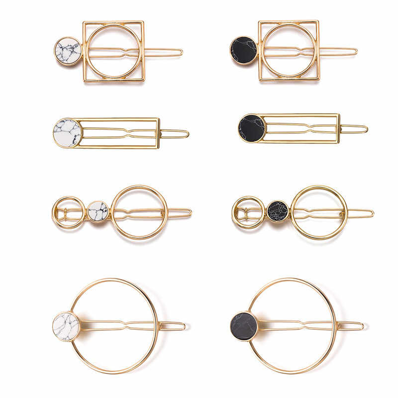 Fashion Women Girls Metal Circle Square Hair Clips Natural Stone Hairpins Barrettes Wedding Hair Clip Accessories