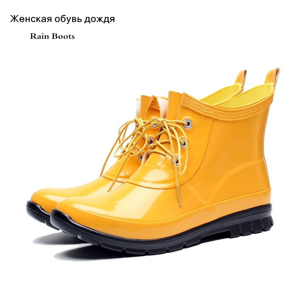 Neue Regen Stiefel Für Frauen Gummi Wasserdicht mit Ferse Wasser Schuhe Kurze Knöchel Gummistiefel Rain Damen Weibliche Gummi Stiefel F52