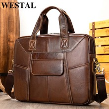 WESTAL bag mens genuine leather briefcases men 14 laptop bag leather business computer office bags for men briefcase totes 7402