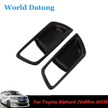 Car Interor Door Handle Bowl Cover ABS Trim 2pcs for Toyota Alphard / Vellfire AH30 2016-2019 Carbon Fiber Drawing