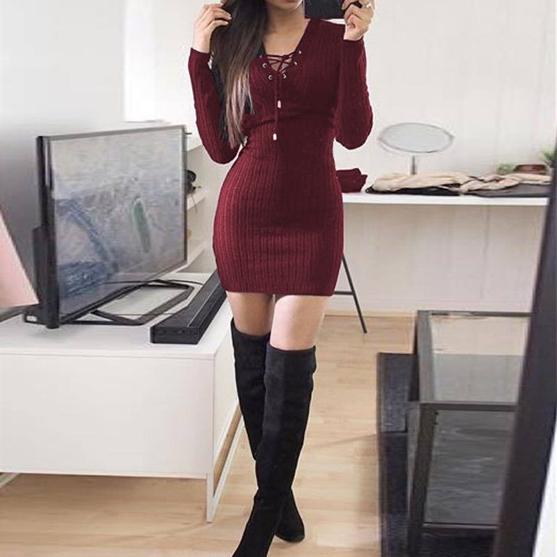 Nice Women Knitted Lace Up Sweater Dress Sexy Club Party Bodycon Dress V Neck Long Sleeve Mini Dresses - 3