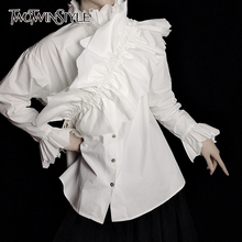 TWOTWINSTYLE Patchwork Ruched White Shirt For Women Stand Long Sleeve Casual Elegant