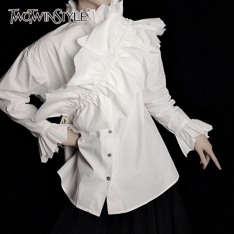 TWOTWINSTYLE Patchwork Ruched White Shirt For Women Stand Long Sleeve Casual Elegant Blouse Female Fashion Clothes 2020 Summer