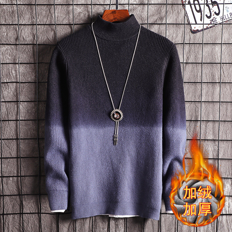 Long Sleeve Gradual Pink Blue Grey Black Red Men Sweater O-Neck Pullovers Fleece Casual New Fashion Mens Sweaters