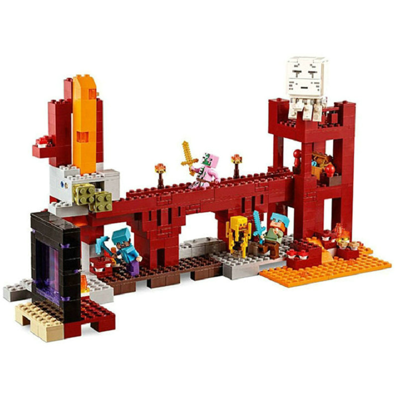 The Nether Fortress Building Blocks With Steve Action Figures Compatible Lepining MinecraftINGlys Sets Toys 21122