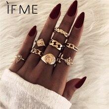 IF ME Punk Vintage Gold Silver Color Rose Finger Ring Set for Women Carved Metal Shield