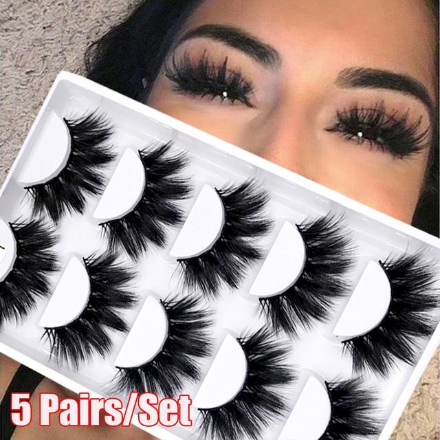5Pairs/Set Faux Mink Hair False Eyelashes Wispy Criss-cross Fluffy Thick Natural Handmade Lash Cruelty-free Eye Makeup Tools 1