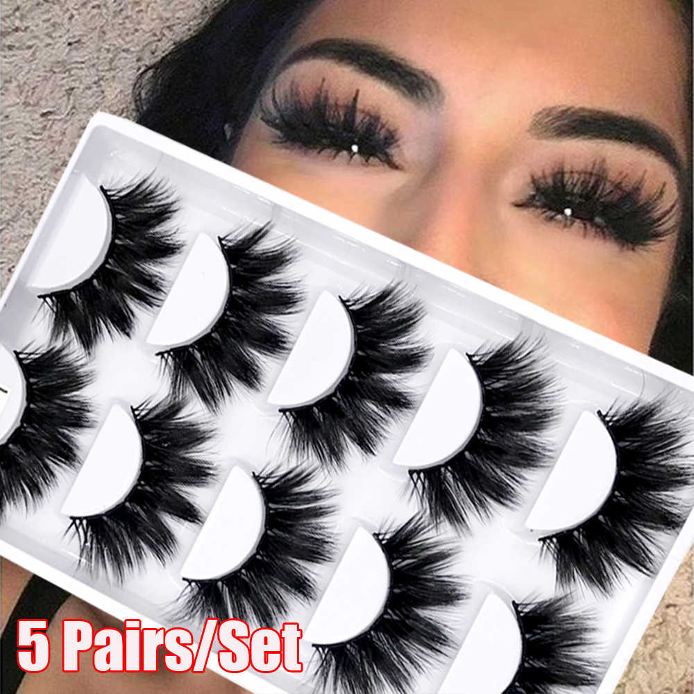 5Pairs/Set 4D Faux Mink Hair False Eyelashes Wispy Criss-cross Fluffy Thick Natural Handmade Lash Cruelty-free Eye Makeup Tools