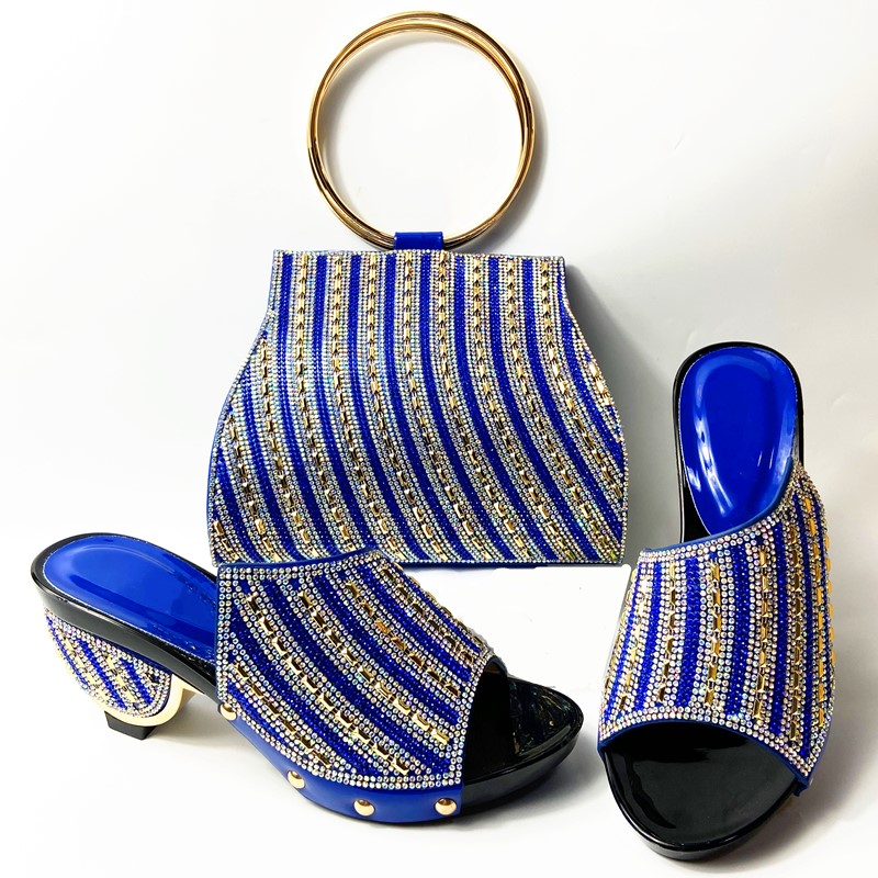 African Soft Shoes And Bag Set Blue Color Italian Shoes With Matching Bags Nigerian Women Party Styles 38-42 WENZHAN 912-30