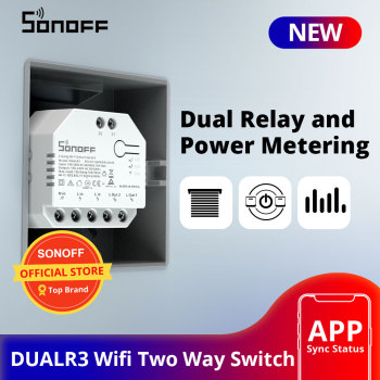 SONOFF DUALR3 Dual Relay Module Wifi DIY MINI Switch Two Way Power Metering  2 Gang/ Way Switch Timing Smart Home eWeLink APP 1
