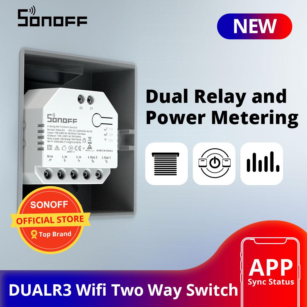 Интеллектуальный выключатель света SONOFF DUALR3 двойной триггерный релейный модуль Wi-Fi, DIY Мини Переключатель двухстороннее Мощность замер 2 Gang/...