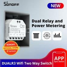 SONOFF DUALR3 Dual Relay Module Wifi DIY MINI Switch Two Way Power Metering  2 Gang/ Way Switch Timing Smart Home eWeLink APP