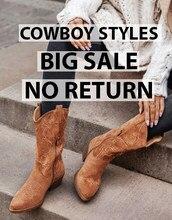 [APURAMENTO] Botas de Cowboy Mulheres Sapatos de Plataforma Plana Outono Pele do Inverno Botas de Moda Dedo Do Pé Redondo de Couro de salto Alto Senhoras sapatos