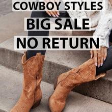 [CLEARANCE] Flat Platform Cowboy Boots Women Shoes Autumn Winter Fur Leather
