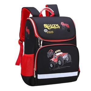 Image 1 - İlköğretim okul çantaları ortopedik sırt çantası kız erkek su geçirmez sırt çantası sevimli baskı yürümeye başlayan sırt çantası mor Mochila Escolar