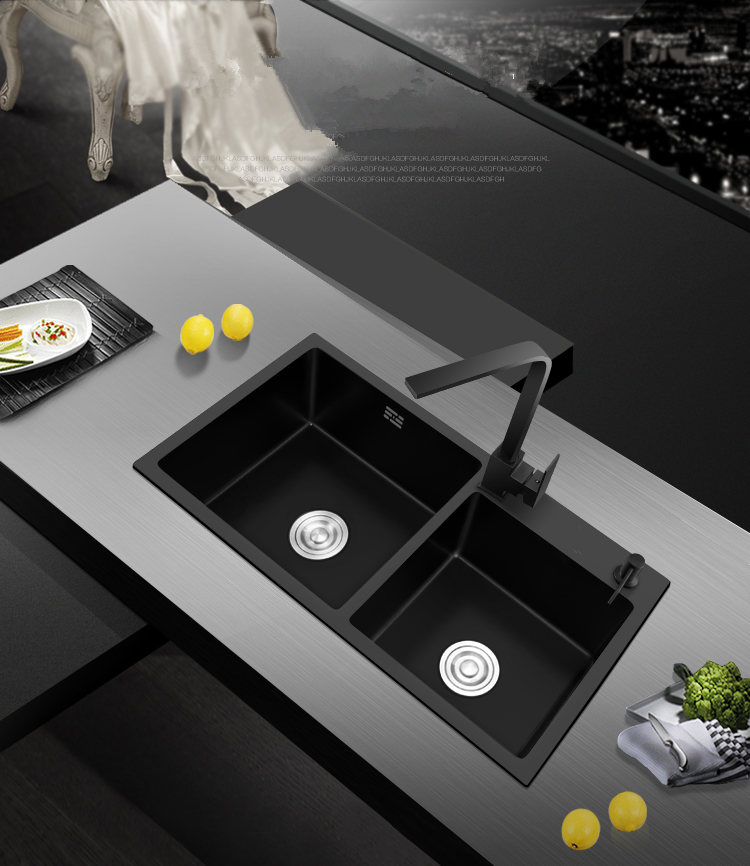 Black Kitchen Sink Doubel bowel Above Counter or Udermount Stainless Steel Seamless Vegetable Washing Basin Sink 5