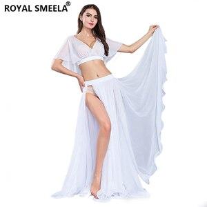 Image 2 - Gorąca sprzedaż kobiet seksowny zestaw do tańca brzucha taniec brzucha ubrania moda dziewczyny szyfonowa bellydance Top spódnice praktyka nosić