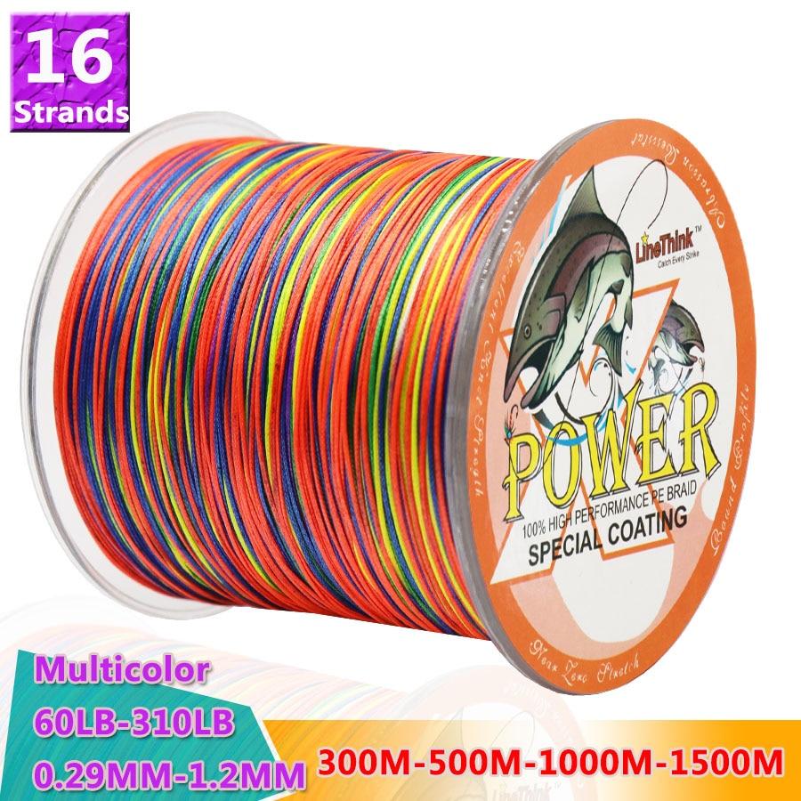 Мощная рыболовная проволока 16 прядей плетеная леска 300 м 500 м 1000 м 1500 м супер прочная японская многонитевая PE плетеная леска 60-310lb 1