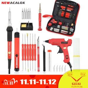 Image 1 - NEWACALOX ue/US 60w DIY regulacja temperatury elektryczny zestaw do spawania lutownica śrubokręt pistolet do kleju naprawa nóż do rzeźbienia