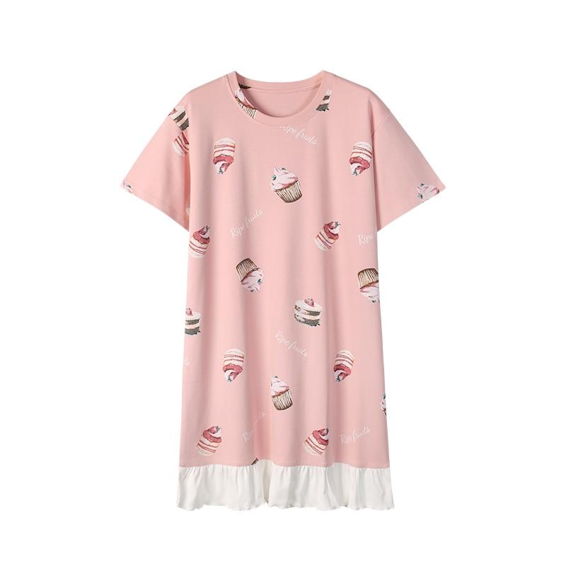 Summer Women Cotton Sleepwear Home Dress Nightshirt Causal Plus Size Nightdress Cartoon Ladies Nightgown 3XL Women Sleep Lounge 3