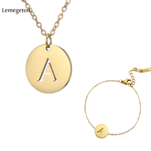 Lemegeton Stainless Steel sets initial Letter Necklace for Women Alphabet Name Bracelet Gold Chain  Jewelry