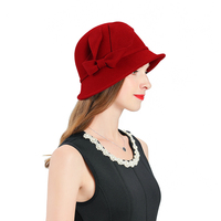 Fascinators For Women Elegant Fedoras Hat Red Church Hats Wool Headpiece Wedding Headwear Lady Party Formal Hair Accessories