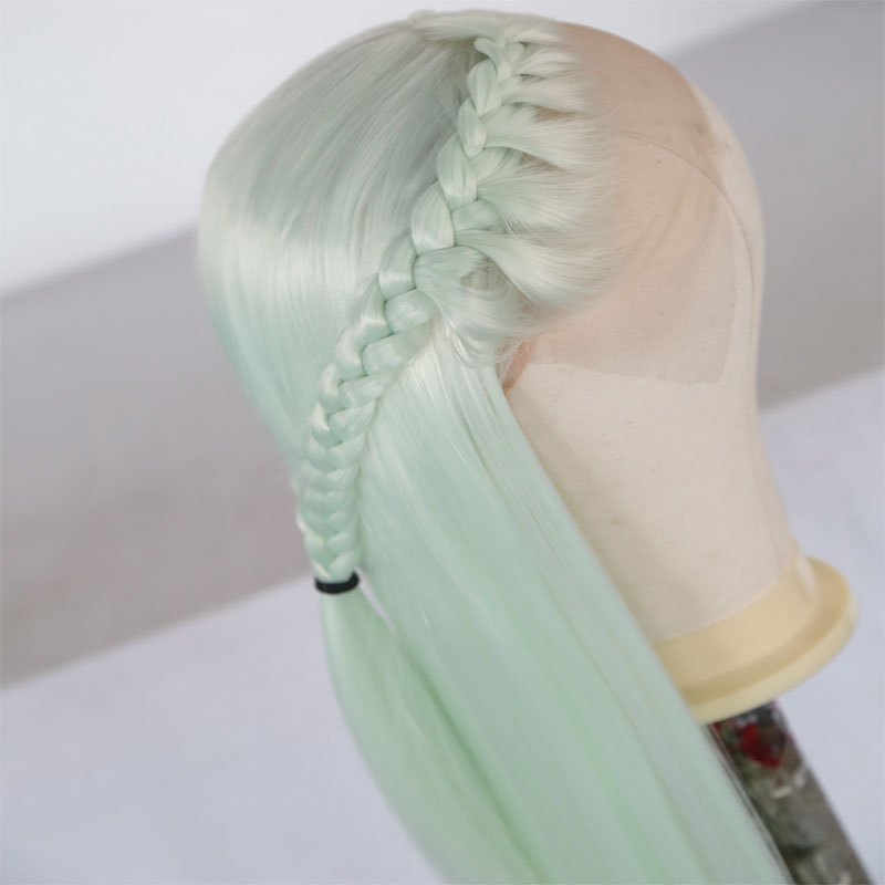 Bombshell Light Green Straight Synthetic Lace Front Braid Wig Natural Hairline Heat Resistant Fiber Middle Parting For Women