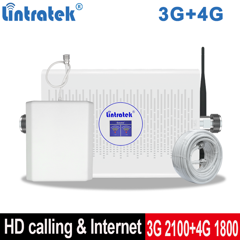 Lintretek 3G 4G Repeater B1 2100 B3 1800 Signal Internet Booster 70dB AGC Mobile Signal Repeater 4G 1800 Cell Phone Booster Dual