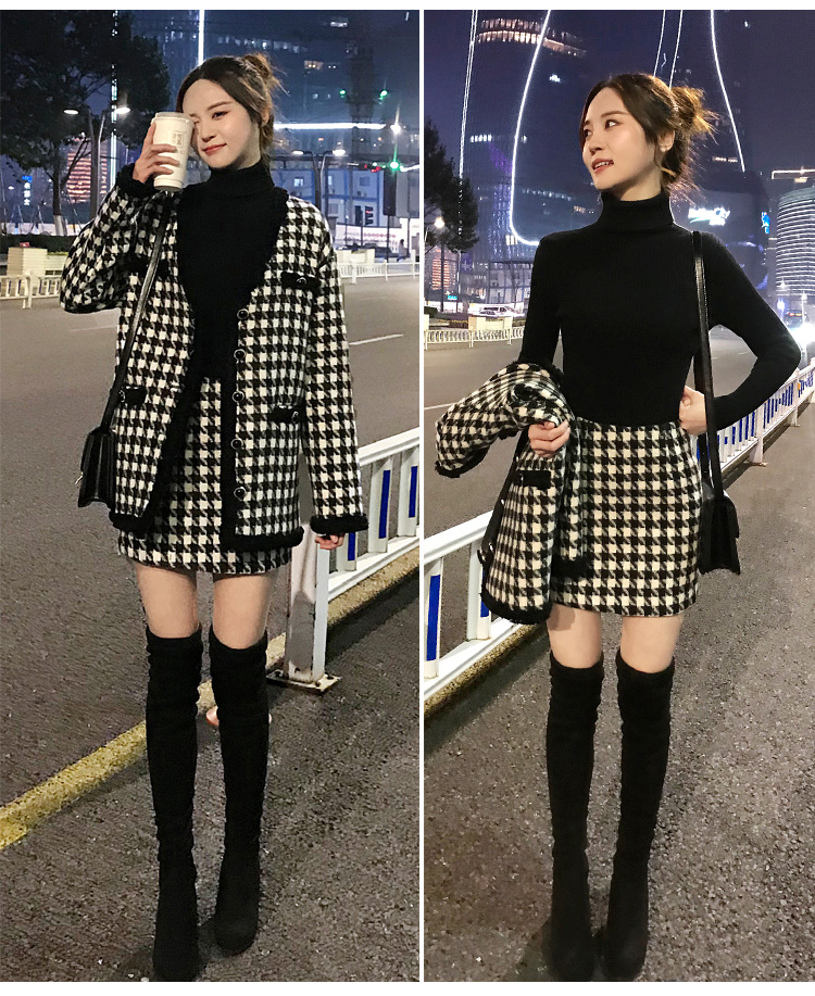 H0f5f67b7014a4a1ca01c0207b5984e4eE - Houndstooth Vintage Two Piece Sets Outfits Women Autumn Cardigan Tops And Mini Skirt Suits Elegant Ladies Fashion 2 Piece Sets