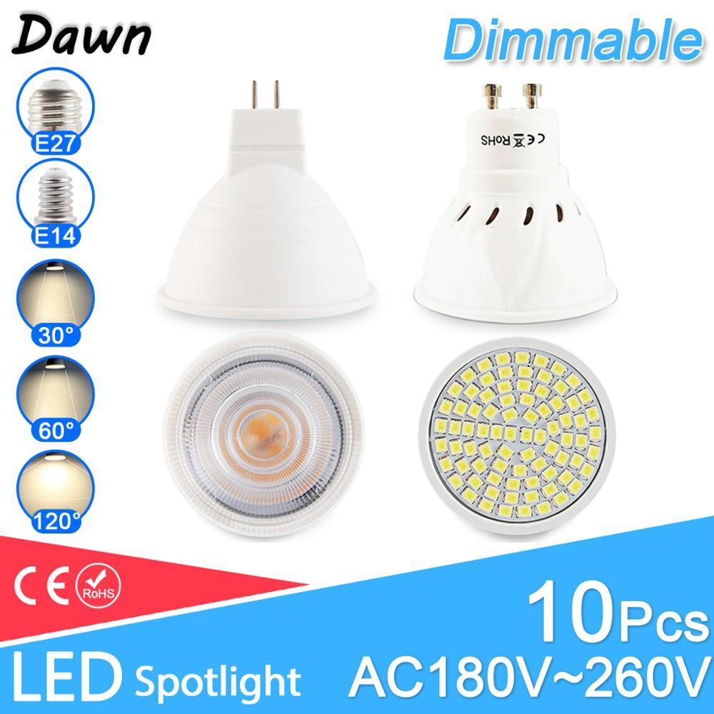 10pcs LED Spotlight Dimmable Spot GU10 MR16 E27 E14 LED Bulb 6W 3W 8W Led Lamp 220V AC12V LED Dimmable Spotlight Lampada Bombil