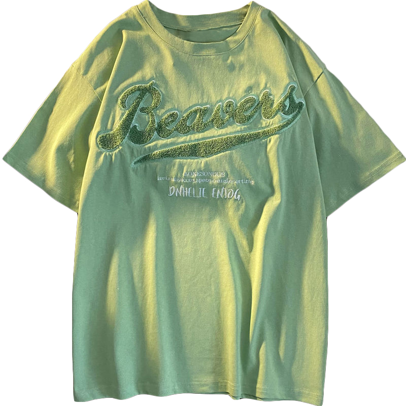Zoenova Blue Green Graphic T Shirts For Women Oversized Street Fashion Clothes 2021 Short Sleeve Cotton Cool Comfutable XL Tops